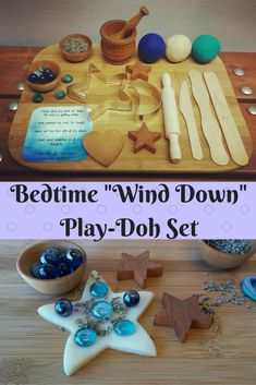 A sweet bedtime play-doh set to help children and families wind down and reconnect at the end of a day. Lavender buds combined with deep pressure from kneading the play dough produces a calming effect and prepares kids for bed. Cutting board, molding and cutting tools and glass pebbles make it quiet creative fun. #etsy #toddler #preK #kindergarten #elementary #homeschool #waldorf #montessori #ad