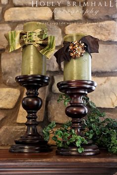 Ribbon & broach with chunky candlesticks Candles, Decor, Candle Holders, Candlesticks, Fall Decor, Holiday Decor, Home Decor, Tuscan Decorating, Candle Decor