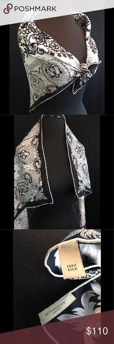 """Vintage Burberry Silk Black White 34"""" Square Scarf Vintage BURBERRY Black & White Floral Scrolls 100% Silk 34 inch square scarf   The perfect staple colors  Condition: Good - no flaws noted   Wear it as a scarf or shawl,put it in a framefor wall art or even as a pillow cover 😉  Check out our other listings and BUNDLE your  ❤️LIKES❤️ so we can send you a  🤫PRIVATE OFFER🤫   Items ship Same or Next Day  Inv ShelfBox Burberry Accessories Scarves & Wraps"""