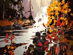"""""""Golden Falls,"""" by Michael O'Toole 30 x 40 - acrylic"""