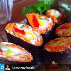 Mock Salmon Roe - raw, vegan, organic, gluten free. Instagram by @komarovfoods Salmon Roe, Free Instagram, Raw Vegan, Sushi, Gluten Free, Organic, Ethnic Recipes, Food, Glutenfree