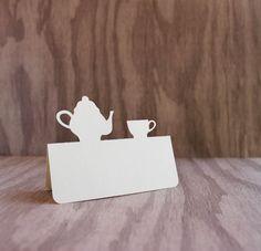 Place Cards Tea party teapot and teacup Set of 50 by tiffzippy #tea #wedding