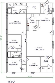 barndominium floor plans 40x60 5 bedroom 2 bathroom