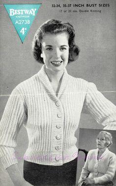 The Vintage Pattern Files: Free 1950's Knitting Pattern - Fisherman-Knit Cardigan