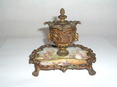 Antique Vienna Enamel Copper Inkwell