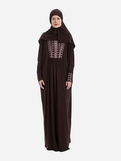 Isdal  Prayer Dress Embroidered Brown With Hijab