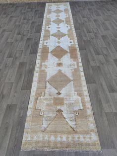 3x18 Runner rug, Extra long neutral runner rug, Turkish vintage rug runner, 3x18 Runner rug, Neutral rug runner, Soft wool oriental runner