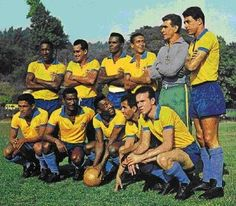 1962 Brazil, Top, left to right: Djalma Santos, José Eli de Miranda Zito, Zózimo Alves Calazans, Altair Gomes de Figueiredo, Carlos José Castilho, Nílton Reis dos Santos , Bottom, left to right: Manoel dos Santos Garrincha, Waldir Pereira 'Didi', Edwaldo Izidio Netto Vavá, Edson Arantes do Nascimento 'Pelé', Mario Jorge Lobo Zagallo