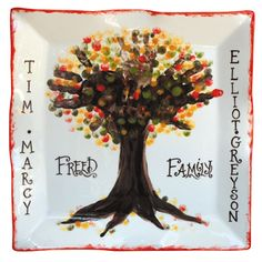 Instructions on how to make a Fall family tree plate/platter with family hand & finger prints.