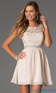 Sleeveless Party Dress with Lace Bodice by Masquerade