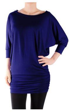 Women's Half Sleeve Rayon Spandex Yoga Basic Tunic Top with Shirring