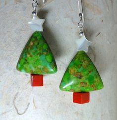 Pendientes árbol de Navidad verde turquesa - turquesa, Coral y fregona vacaciones pendientes