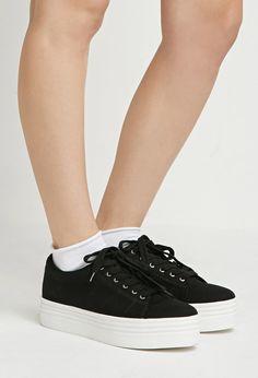 Faux Leather Flatform Sandals   Forever 21 - 2002247332