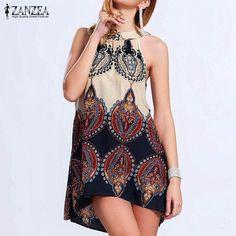 Women Casual Loose Chiffon Sexy Sleeveless O-Neck Print Boho Mini Dress Plus Size S-3XL