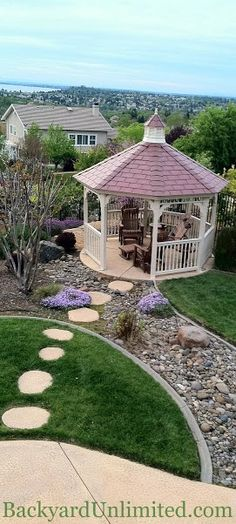 12' Ivory Vinyl Gazebo with Cupola and Rubber Slate Roof http://www.backyardunlimited.com/gazebos