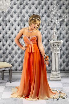 Brittany - Orange Prom Dress