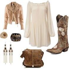 A fashion look from March 2012 featuring Vero Moda dresses, H&M jackets and Ariat boots. Browse and shop related looks. Country Girl Outfits, Country Dresses, Country Fashion, Western Dresses, Southern Fashion, Cowboy Boot Outfits, Dresses With Cowboy Boots, Dress Boots, Jacket Dress
