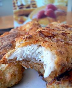 Used--yummy Ultimate Chicken Fingers- Bisquick, parmesean, garlic powder, paprika salt. Mix those ingredients together, dunk chicken tenders in some egg and into the bisquick mixture and onto a cookie sheet. Spray with Pam and bake at 450 until crispy! Think Food, I Love Food, Good Food, Yummy Food, Great Recipes, Favorite Recipes, Recipes Dinner, Dinner Ideas, Easy Recipes
