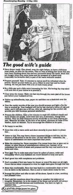 the good wifes guide... classic!  always know your place! hahahaha.