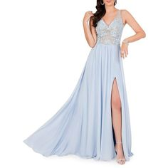 Glamour by Terani Couture Women's Embroidered Train Gown ($363) ❤ liked on Polyvore featuring dresses, gowns, powder blue, blue sleeveless dress, embroidered gown, powder blue dress, blue v neck dress and blue ball gown