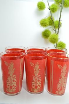 These super retro tumblers have a Bangkok Hindu deity vibe and stand 5 inches tall, ready to improve your cool point ratio at your next dinner