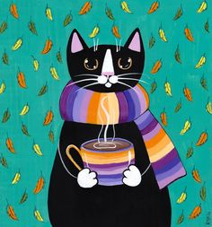 Autumn Coffee Cat Original Folk Art Painting by KilkennycatArt (Ryan Conners)