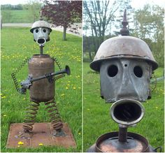 Armed Guard Robot made by J.R.Hamm. Created from recycled scrap metal. 2016