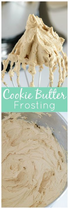 Butter Frosting Incredibly sweet and delicious buttercream frosting flavored with Biscoff cookie butter. You'll want to put this frosting on EVERYTHING!Incredibly sweet and delicious buttercream frosting flavored with Biscoff cookie butter. Homemade Frosting, Frosting Recipes, Cupcake Recipes, Baking Recipes, Dessert Recipes, Butter Frosting, Cookie Frosting, Cake Icing, Buttercream Frosting