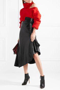 #Monse - Asymmetric Leather #MidiSkirt #Skirt - #Black AD #kimludcom #sscollective #giftguide #holidays #gifts