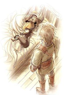 Art by tak @karasuki Aw, I love the way the helmet fell off in Midna's sleep :3