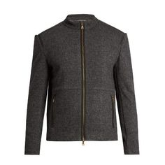John Varvatos Zip-through wool and cotton-blend bomber jacket (£365) ❤ liked on Polyvore featuring men's fashion, men's clothing, men's outerwear, men's jackets, grey, mens wool outerwear, men's wool bomber jacket, mens slim fit jacket, mens wool jacket and mens slim jacket