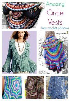 12 Amazing Free Circle Vest crochet patterns   SimplyCollectibleCrochet.com http://simplycollectiblecrochet.com/2017/03/free-circle-vest-crochet-patterns/