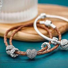 """PANDORA leather bracelets are casual with a bit of sass. #pandoramidland #pandoraleatherbracelet #personality #casual #sassy #bracelets #charmbracelets…"""
