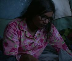 Mindy's pink floral pajamas on The Mindy Project.  Outfit details: http://wornontv.net/15353/