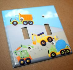 Bright Construction Trucks Boys Bedroom Double Light Switch Cover on Etsy, $12.00