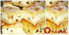 """Výborný koláčik z jarmoku v Trnave. Našli sme ho pod názvom """"prvý sneh"""". Je naozaj výborný, ak máte radi tvarohové dezerty, tento určite skúste. Alphabet Cake, Czech Recipes, Desert Recipes, Pancakes, French Toast, Deserts, Food And Drink, Sweets, Chocolate"""