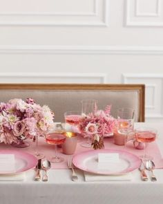 Shades of pink make for a graceful tablescape.