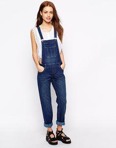 New Look - Salopette en jean foncé délavé