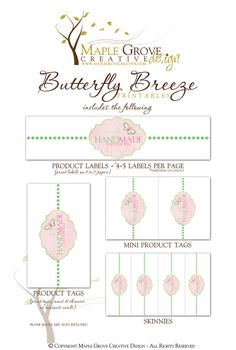 Butterfly Breeze Printable Tags for Crochet Knit by MapleGroveCreative