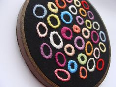 Hand Embroidered Colorful Wall Art  Circles by OnTheWallByYoko, $29.00