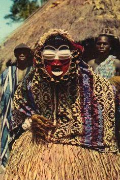 Africa | Guéré Wobé mask from the Ivory Coast | Scanned postcard image