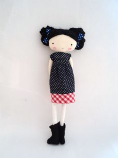 Mary rag doll plush toy cloth art doll polka by lassandaliasdeana