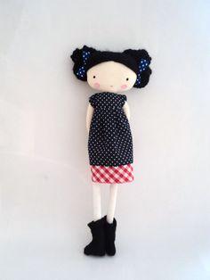 Mary rag doll plush toy cloth art doll polka by lassandaliasdeana