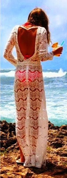 White Backless Beach Cover Up