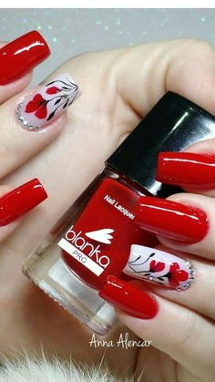 Cool nail art designs for 2019 Square Nail Designs, Long Nail Designs, Red Nail Designs, Nail Polish Designs, Pretty Nail Art, Flower Nails, Gorgeous Nails, Red Nails, Beauty Nails