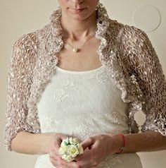 Romantic Champagne Nude Bolero Bridal Silk Beige Nude by NastiaDi
