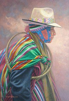 Autoridad aymara - Oscar Tintaya Andes Peru, Peruvian Art, World Cultures, Bolivia, Sacred Geometry, Fashion Sketches, Native American, Draw, Creative