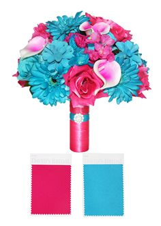 Tropical Destination Wedding Hot Pink And White And Turquoise Teal