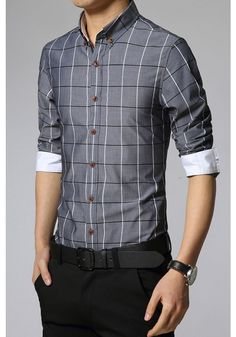 Denim Blue Paid Pattern Men Shirt |Dress