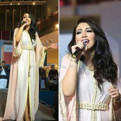 Singer asmaa Lamnawar with two pieces moroccan caftan #moroccancaftan